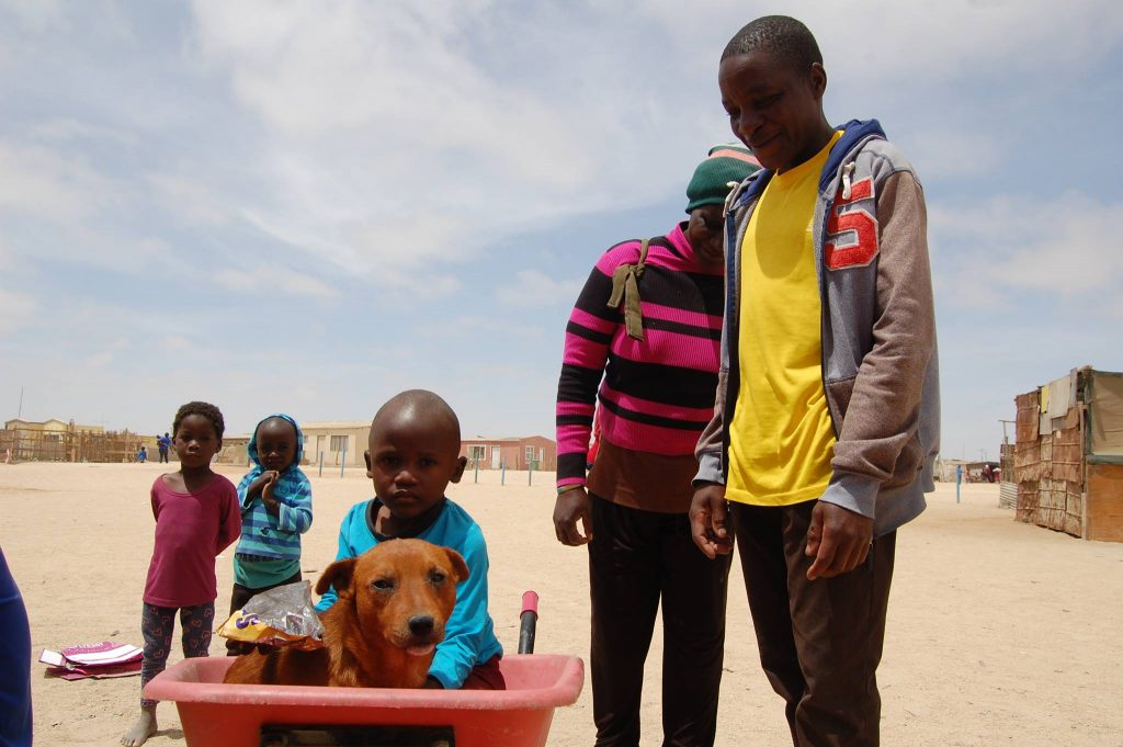 dog in a wheelbarrow with his family around him
