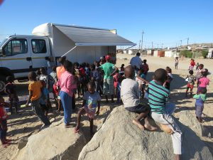 lots of people at the mobile clinic in luderitz