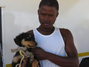 young man with his puppy waiting for the dog's turn