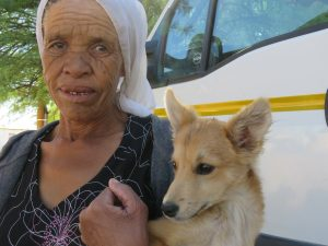 old lady with her beautiful dog